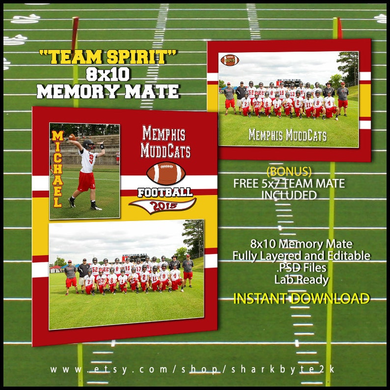 2019 Football Sports Memory Mate Template For Photoshop TEAM SPIRIT
