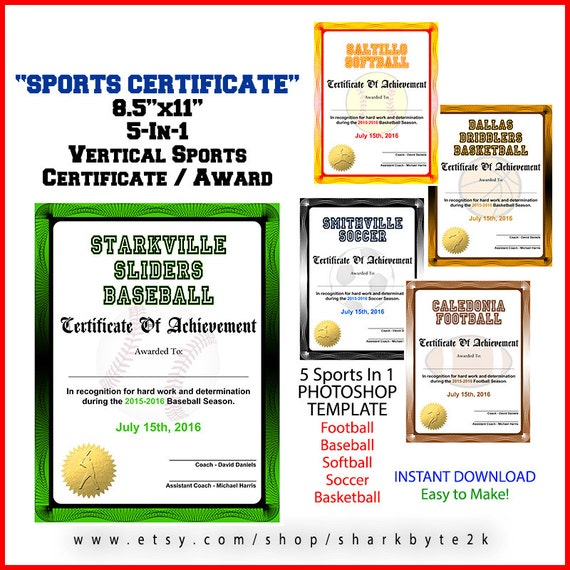 5 In 1 Sports Award Zertifikat Achievement Photoshop Vorlage