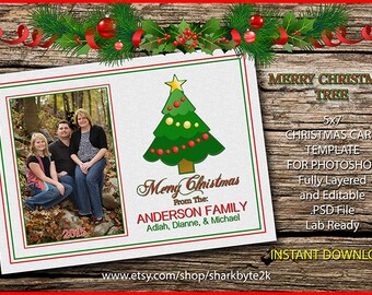 2017 Christmas Card Postcard 5x7 Template For Photoshop. Single Sided. Easy to Use. Drop Photo, Change Name and Print. Christmas Tree Icon.