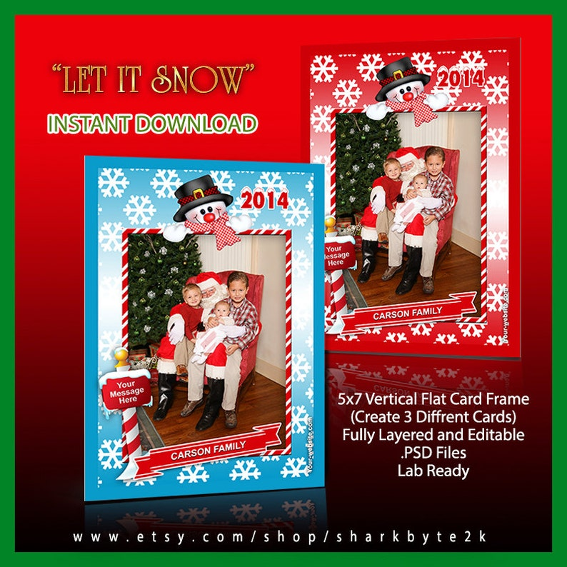2019 5x7 Photoshop Christmas Frame Template with Snowman and Snow   Professional Photo Card  Easy to use  Drag and Drop  LET IT SNOW  Holiday