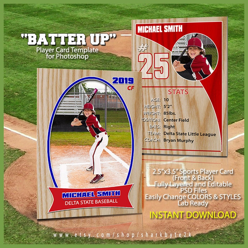 Baseball Sports Trader Card Template For Photoshop Batter Up Simple And Easy To Use Includes Front And Back Change Colors New For 2019