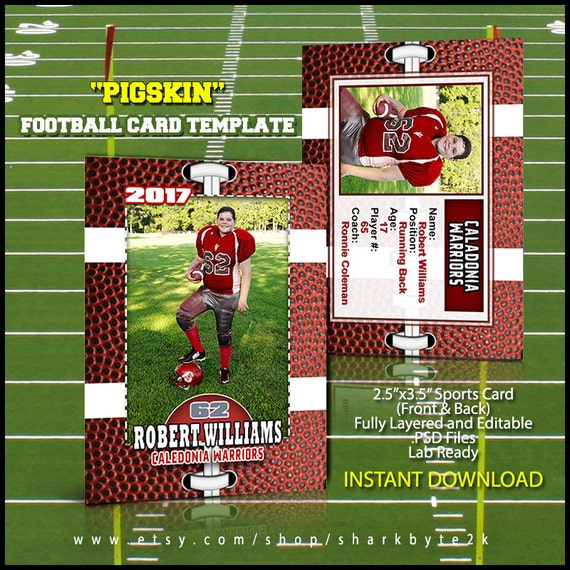 photoshop football card template great for sports team and etsy