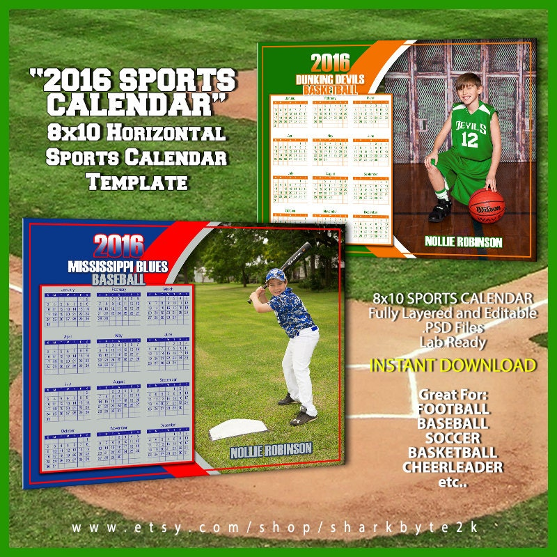 2016 Calendar Template For Sports Great For Baseball