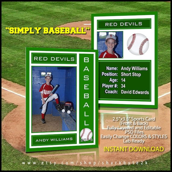 2020 Baseball Sports Trader Card Template For Photoshop Simply Etsy