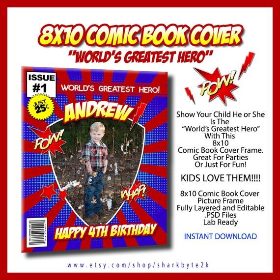 Mayor héroe cómico del libro cubierta cumpleaños invitación 8