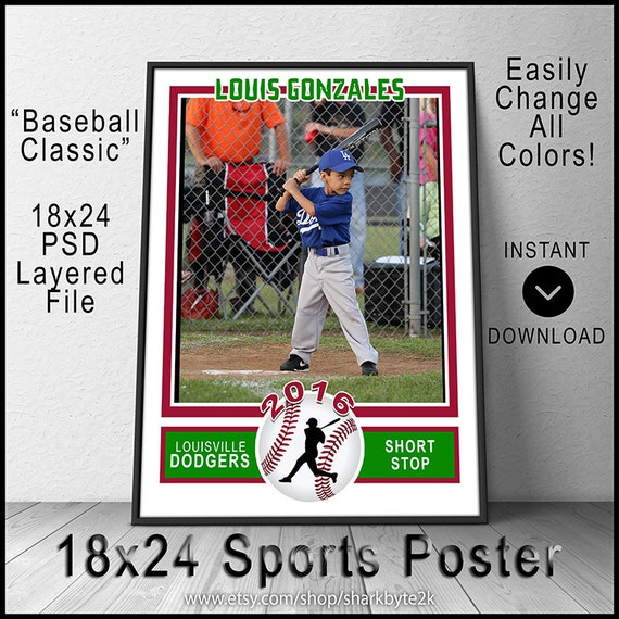 2017 baseball poster template for photoshop 18x24 size create etsy