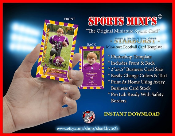 miniature football card photoshop template for printing on etsy