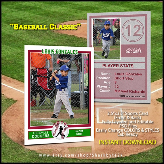 Baseball Sports Trader Card Template For Photoshop BASEBALL - Baseball card template photoshop