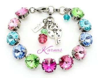RAINBOW SORBET 12mm Crystal Rivoli Bracelet Made With Swarovski Elements *Pick Your Finish *Karnas Design Studio *Free Freight*