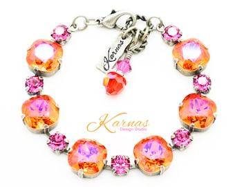 FUCHSIA FANATIC 6mm/12mm Crystal Cushion Cut Bracelet Made With Swarovski Stones *Pick Your Finish *Karnas Design Studio *Free Shipping