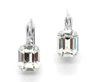 LUXURIANT 8-10MM KDS Emerald Cut Drop Leverbacks Made With Swarovski Crystal *Rhodium Silver *Karnas Design Studio *Free Shipping