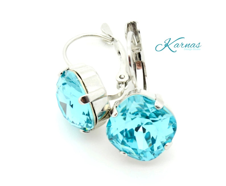 33970cd9f62e9 LIGHT TURQUOISE 12mm Crystal Cushion Cut Drop Earrings Made With Swarovski  Elements *Pick Your Setting *Karnas Design Studio *Free Shipping*