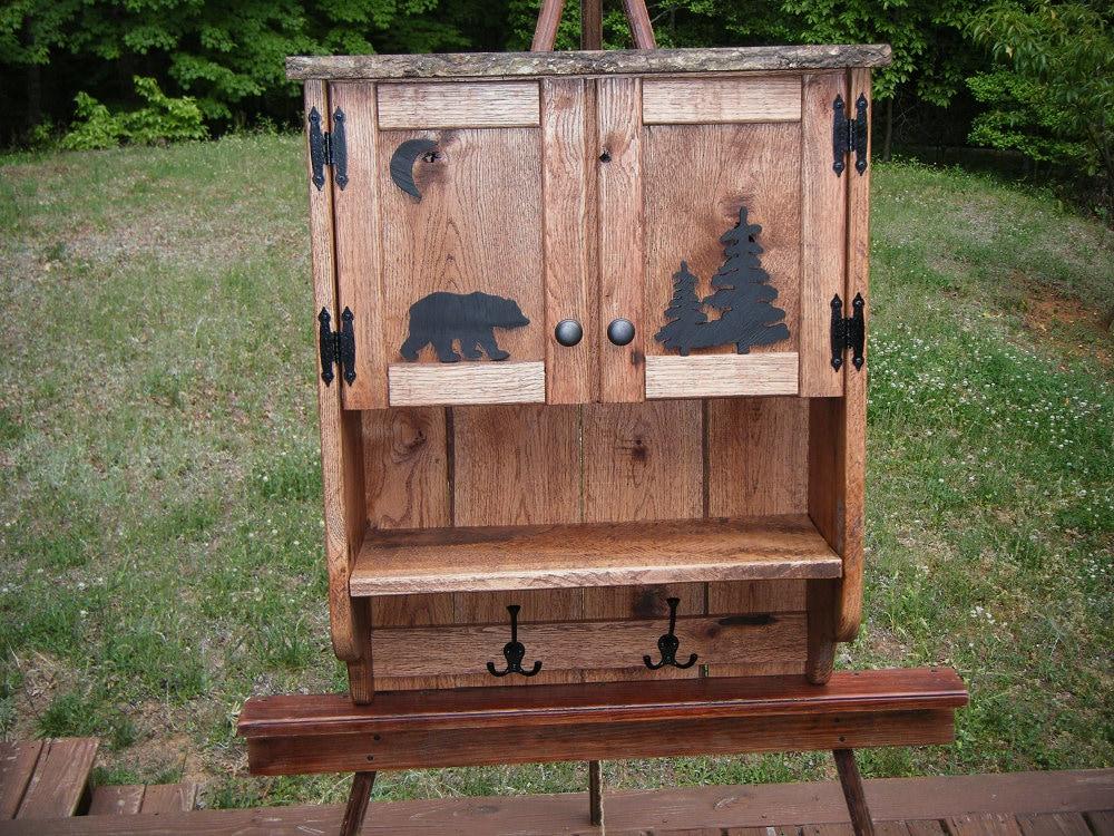 5ed4b454260 Wall Cabinet - Rustic Black Bear Wall Cabinet