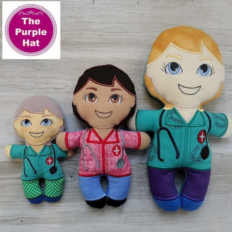 ITH Heroes Female Essential Worker plush doll toy 5x7 6x10 8x12 machine embroidery in the hoop grocery postal bus driver teacher delivery