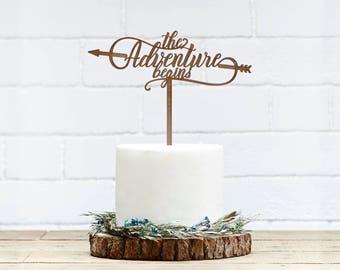 Customized Wedding Cake Topper, Personalized Cake Topper for Wedding, Custom Personalized Wedding Cake Topper,Adventure Begins Cake Topper6