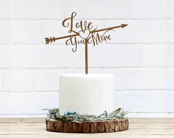 Customized Wedding Cake Topper, Personalized Cake Topper for Wedding, Custom Personalized Wedding Cake Topper, Love You More Cake Topper-08