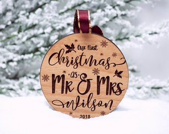 984f6d18a080 Our First Christmas Ornament Married - Personalized Christmas Ornaments -  Mr and Mrs - Gifts Couple - Newlywed Gift - Just Married - Mr Mrs