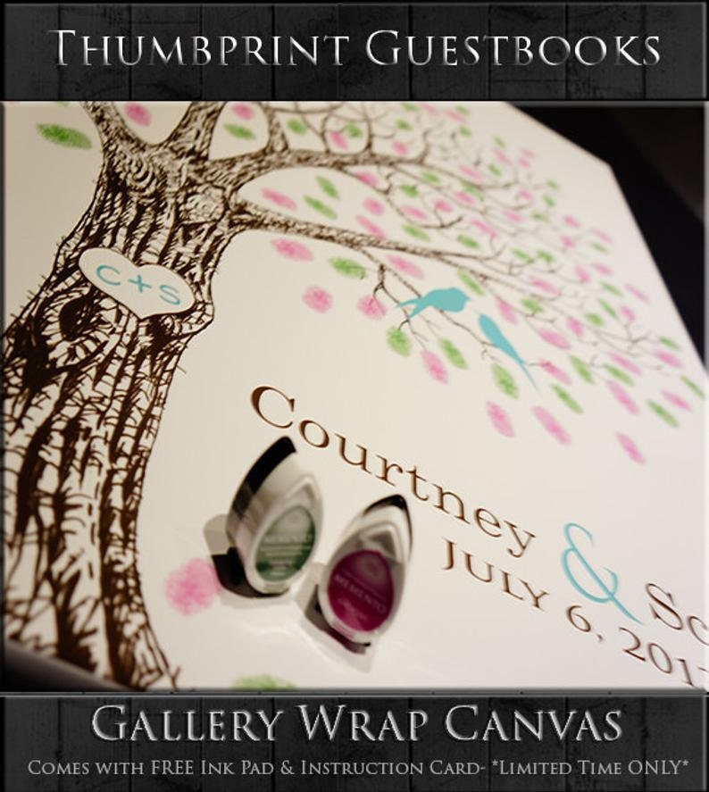 Thumbprint Wedding Tree Guest Book Alternative Personalized Wedding Gift Custom Wedding Keepsake Unique Guestbook Hand Drawn Fingerprint