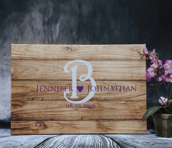 Wedding Guest Book Ideas On Wood Canvas Rustic Wedding