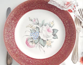 Mismatched China Maroon Floral Dinner Plate with 23 Karat Gold Filgree Trim For Wedding, Dining, Bridal Shower, Collectable, Replacement,