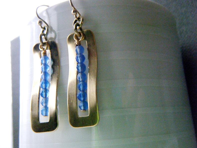 Long blue onyx earrings Onyx jewelry Bohemian gold brass earrings Blue earrings Gemstone bar earrings Blue stone earrings Gift for her