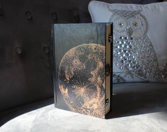 Artisanal Book Clutch Purse -  Black/Copper Moon