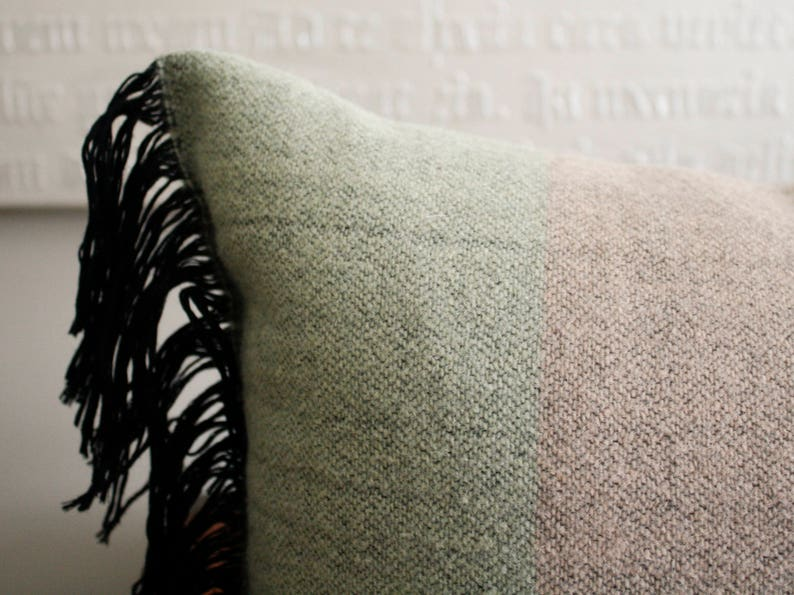 12x18 Light Green and Pale Pink Wool Pillow Cover with Black Fringe