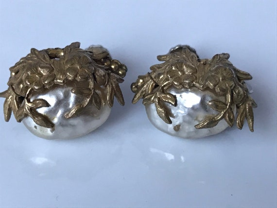Miriam Haskell Baroque Pearl Earrings Signed
