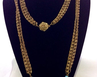 Sale - 10% OFF any purchase! use code SAVE10  Miriam Haskell Double Chain with Glass Stones