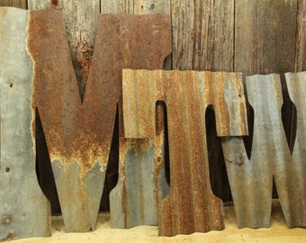 Rusty Tin Letters, FREE Shipping,  Monogram rustic letter, large letters, Home Decor, fixer upper, rustic wedding decor,ship lap
