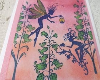 NISSA  GREEN FLOWERS  theme fairy card, faerie card, blank greeting card. Nature themed cards, mystical card, handmade card, fairy theme