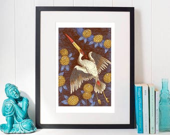 The Red Crowned Crane Print,