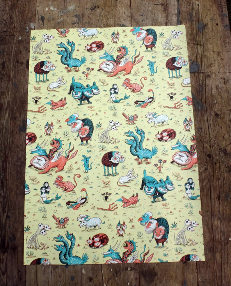 Three Headed Beasts Wrapping Paper  Set of 3 sheets