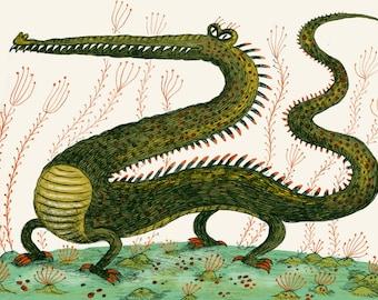 Croc Dragon, Art Print