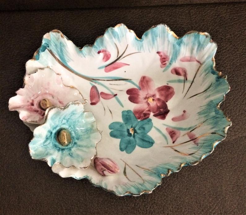 Vintage Italian Hand Painted Fine Porcelain Flower Dish