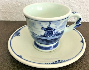 Delft's Hand Painted Holland Cup And Saucer Set