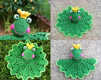 Amigurumi , Crochet Frog snuggle , comfort blanket PDF pattern