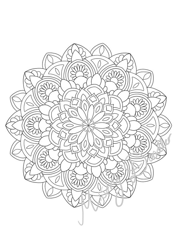 Adult Coloring Pages Mandala S X 4 Printable Coloring Etsy