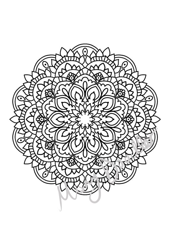 Adult Coloring Pages Mandala S X 4 Pdf Printable Etsy