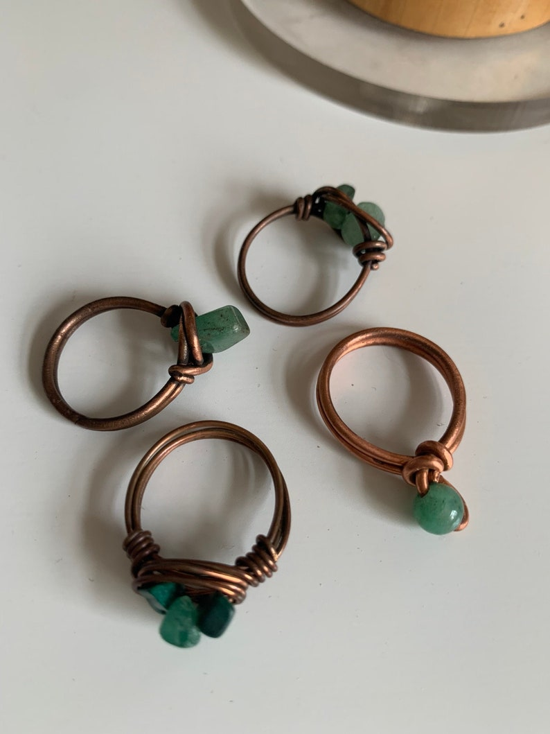 Aventurine copper ring Nest ring wire wrapped pure copper healing ring.