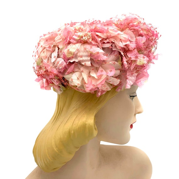 1950s Pink Floral Hat With Veil Overlay - image 2