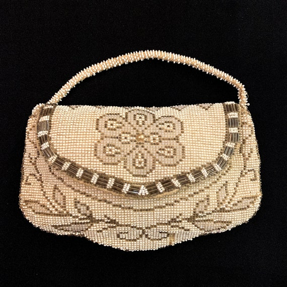 1920s - 30s Flower Top Czech Beaded Purse