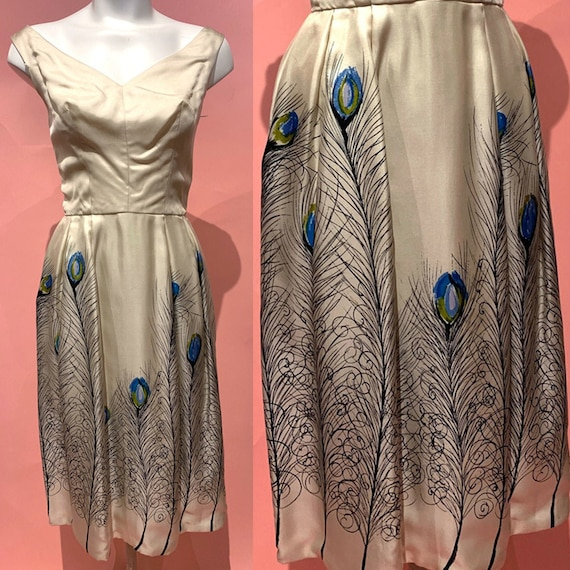 1950's Peacock Feather Print Pure Silk Dress
