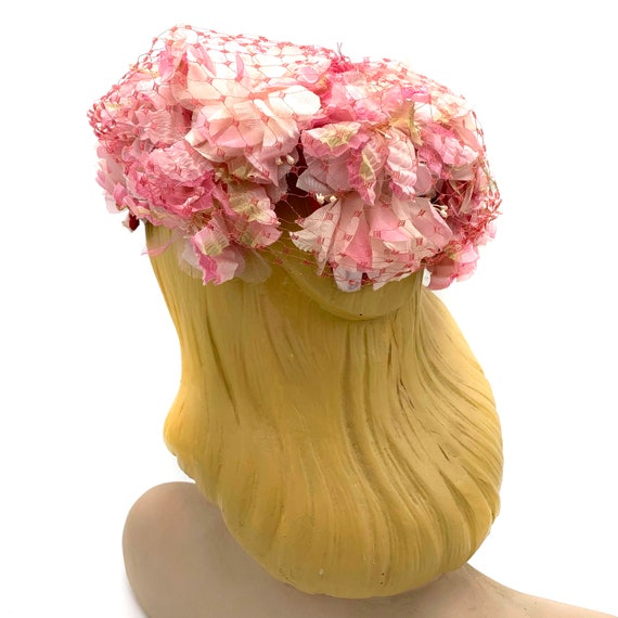 1950s Pink Floral Hat With Veil Overlay - image 4