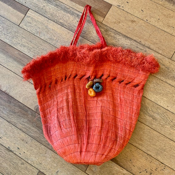 1950s Made In Mexico Woven Red Top Handle Straw Ba