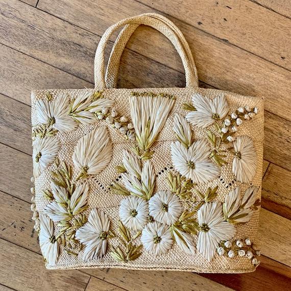 1950s Contrasting Decorative Floral Top Handle Str
