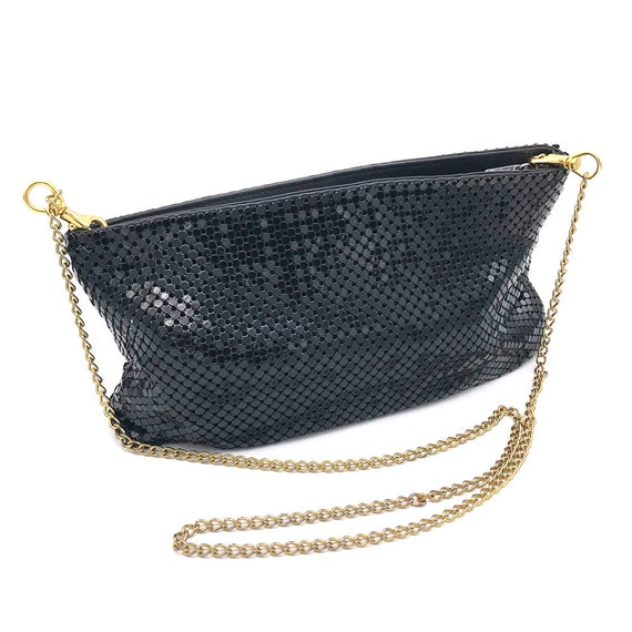 1980s Whiting and Davis Mesh Purse  80s Crossbody Envelope Clutch with Removable Strap