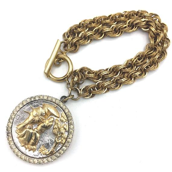 1960s Nettie Rosenstein Scenic Medallion Charm Bra
