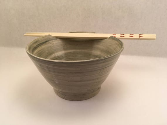 Noodle Bowl With Chopstick Rest (Double Notched), Green Swirled by Etsy
