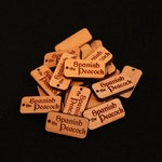 50 Custom Wood Tags - 0.5 x 1.0 Inches - Laser Cut and Engraved Knitting Tags, Gift Tags, Product Tags